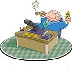70663-Royalty-Free-RF-Clipart-Illustration-Of-A-Lazy-Boss-Smoking-A-Cigar-And-Relaxing-With-His-Feet-On-His-Desk